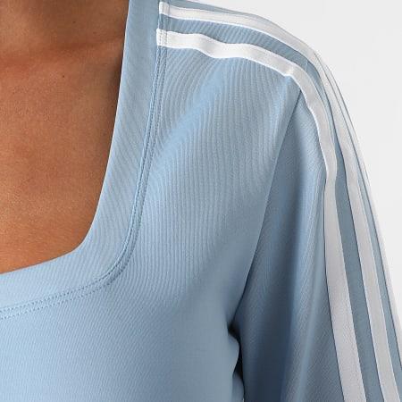adidas - Tee Shirt  Manches Longues Crop Femme A Bandes H37766 Bleu Ciel