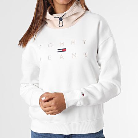 Tommy Jeans - Sweat Col Amplified Femme Boxy Tonal Logo 1191 Blanc Beige