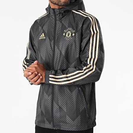 adidas - Coupe-Vent A Bandes Manchester United GR3873 Gris Anthracite Doré