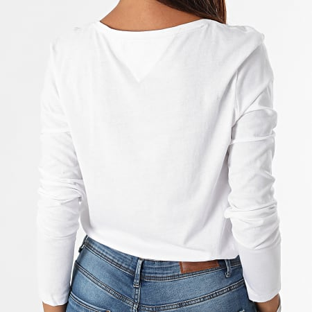 Tommy Jeans - Tee Shirt Manches Longues Femme Jersey V Neck 9101 Blanc