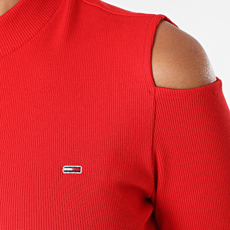 Tommy Jeans - Tee Shirt Manches Longues Femme Crop Rib 1038 Rouge