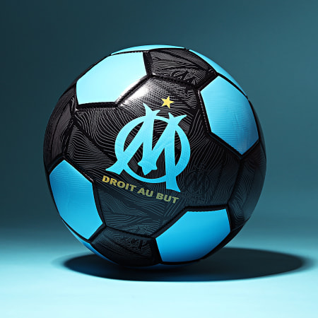 OM - Ballon De Foot Logo M21063 Bleu Clair Noir