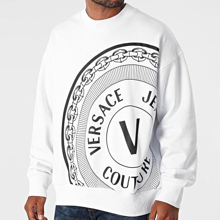 Versace Jeans Couture - Sweat Crewneck Off Centered V Emblem 71GAIT11-CFOOT Blanc