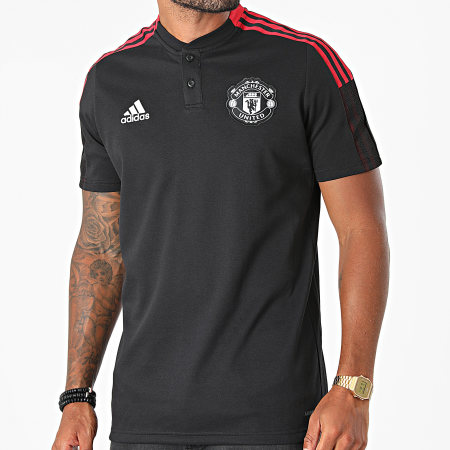 adidas - Polo Manches Courtes A Bandes Manchester United FC GR3823 Noir