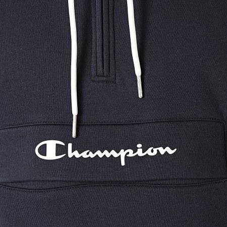 Champion - Sweat Capuche Col Zippé 214746 Bleu Marine