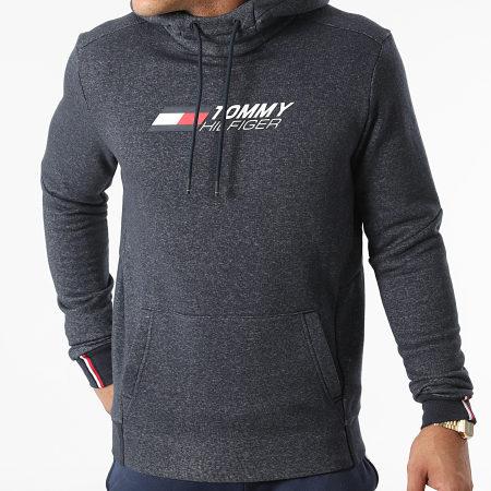Tommy Sport - Sweat Capuche Logo Fleece 9775 Bleu Marine Chiné