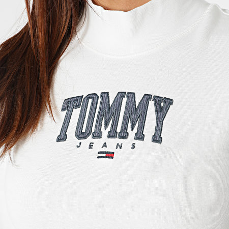 Tommy Jeans - Tee Shirt Manches Longues Femme Cropped Baby Rib 2112 Blanc