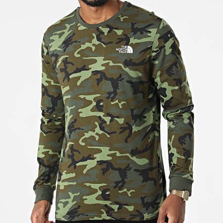 The North Face - Tee Shirt Manches Longues Simple Dome A3L3B Vert Kaki Camouflage