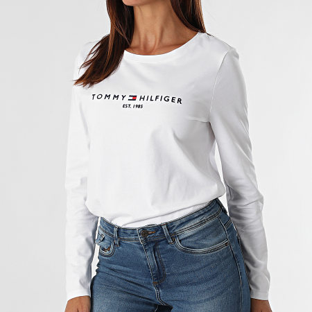 Tommy Hilfiger - Tee Shirt Manches Longues Femme Regular 0720 Blanc