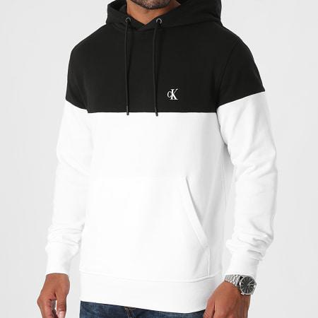 Calvin Klein - Sweat Capuche Colorblock Shadow 9364 Blanc Noir