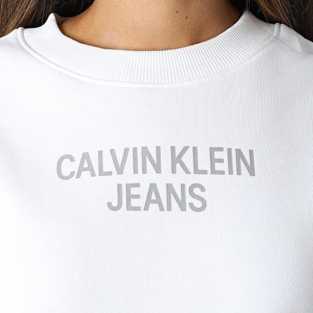 Calvin Klein Jeans - Sweat Crewneck Femme Crop 7298 Blanc