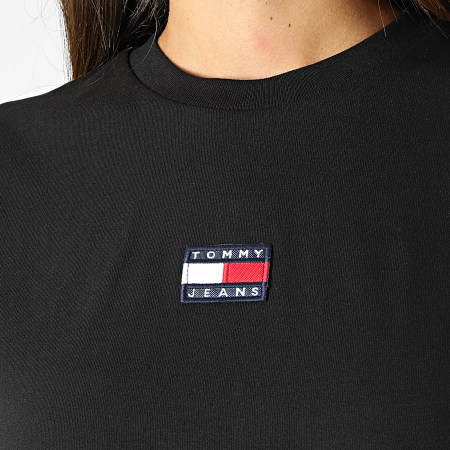 Tommy Jeans - Tee Shirt Manches Longues Femme Crop Tommy Badge 1013 Noir