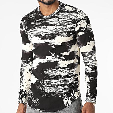 Frilivin - Tee Shirt Manches Longues 15356 Beige Noir