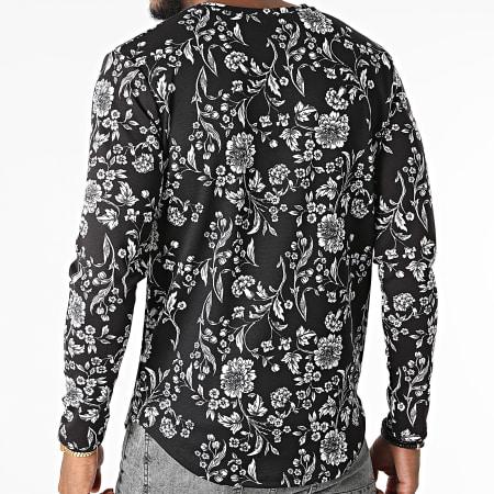 Frilivin - Tee Shirt Manches Longues Oversize Floral 15558 Noir