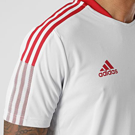 adidas - Tee Shirt A Bandes Manchester United GV1573 Gris Clair
