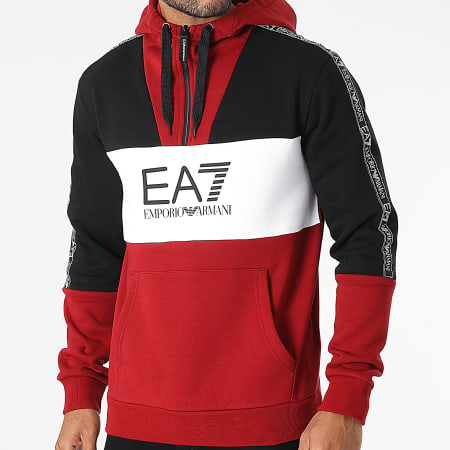 EA7 Emporio Armani - Sweat Capuche Col Zippé A Bandes 6KPM29-PJ07Z Rouge Blanc Noir