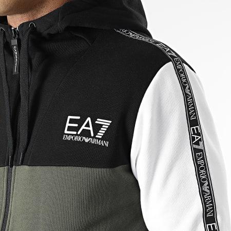 EA7 Emporio Armani - Ensemble De Survêtement A Bandes 6KPV63-PJ07Z Vert Kaki Noir Blanc