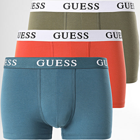Guess - Lot De 3 Boxers U1BG00 Orange Vert Kaki Bleu