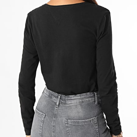 Tommy Jeans - Tee Shirt Manches Longues Jersey Femme V-Neck 9101 Noir