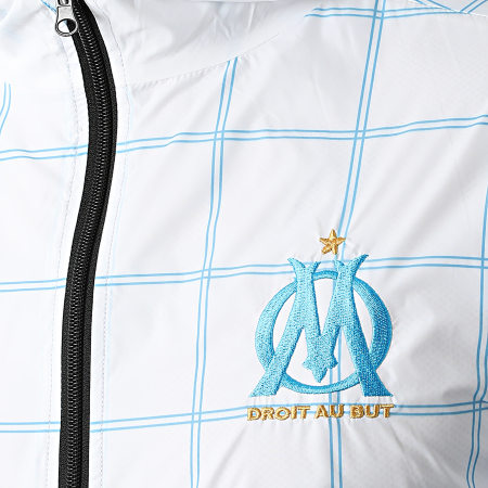OM - Coupe-Vent A Capuche Fan M21012 Blanc Bleu Clair