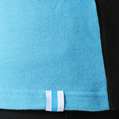 OM - Polo Manches Courtes Pique Fan M21008C Noir Bleu Clair